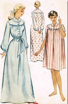 1950s Vintage McCalls Sewing Pattern 8339 Misses Nightgown Size Large 38 40  Bust 8cf39c1da