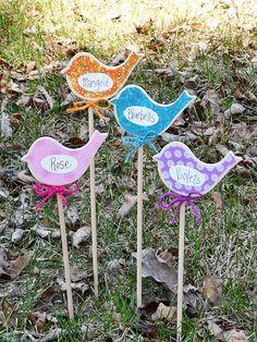 Birdy Flower Markers for Your Garden at CraftsbyAmanda.com @Amanda Formaro