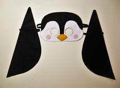 Penguin felt mask & wings set white black yellow party costume for boys girls soft dress up play accessory Theatre roleplay - Gift for kids