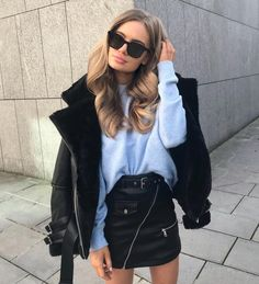 "682 Likes, 8 Comments - Manière De Voir (@manieredevoir) on Instagram: ""#OOTD @viktoriahutter wears the Zip Shearling Biker Jacket Paired with the Leather Mini Skirt in…"""