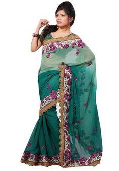$32 Triveni Divine Floral Embroidered Party Wear Faux Chiffon Saree 839