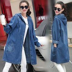 2017 Women Hooded Jean Denim Loose Casual Coat Long Windbreaker Outerwear