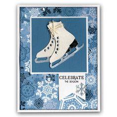 Die-cut Ice Skates Winter Snowflakes Card