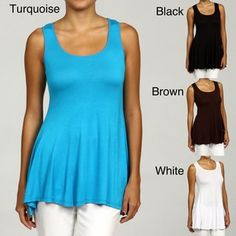 @Overstock - Offering a softly draped style that forgives perceived figure flaws, this womens sleeveless tunic is perfect for pairing with your favorite shorts, capris, or jeans. Available in several popular colors, it is certain to be a favorite.http://www.overstock.com/Clothing-Shoes/24-7-Comfort-Apparel-Womens-Sleeveless-Tunic-Tank/6053294/product.html?CID=214117 $28.59