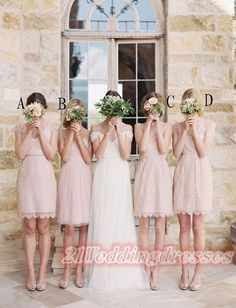Pink Lace Short Bridesmaid Dresses,Simple Beauty Bridesmaids Dresses http://21weddingdresses.storenvy.com/products/15790917-pink-lace-short-bridesmaid-dresses-simple-beauty-bridesmaids-dresses