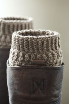 One pair of crochet boot cuffs / boot socks / by PikaPikaCreative, $18.00