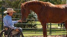 Horsemanship teacher Michael Richardson demonstrates the sensitivity and responsiveness of Santo, a former track horse at LOPE.