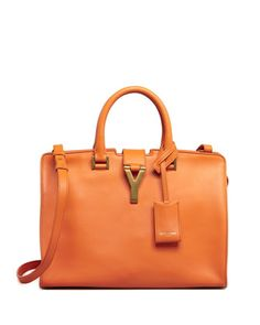 Y-Ligne Cabas Mini Leather Bag, Orange by Saint Laurent at Bergdorf Goodman.