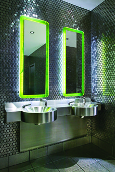 The eco-friendly Neo-Metro's System basin offers unlimited wash station that require only one connection. Copper Lounge, Commercial Toilet, Bathroom Floor Plans, Contemporary Baths, Upstairs Bathrooms, Modern Bathrooms, Interior Design Magazine, Stainless Steel Sinks, Bathroom Lighting