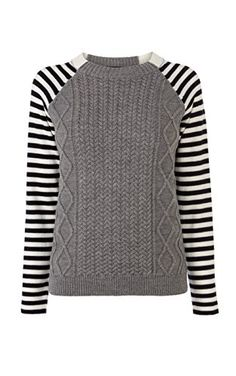 Cable and stripe knit