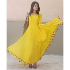 Yellow Long Dress With Pom Pom Lace by Sourgrape's Online - Online shopping for Dresses on MyShopPrime - HAQFHJ Indian Dresses, Indian Outfits, Look Fashion, Indian Fashion, Trendy Kurti, Anarkali Gown, Lehenga, Anarkali Suits, Indian Designer Wear