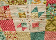 Quilt Story:  Sweetest baby girl quilt.  Simple squares from the Hello Luscious line. Sweet vintage look.  Three squares are traditional blocks. Measurements given in the blog post. Quilt is in the shop! :)