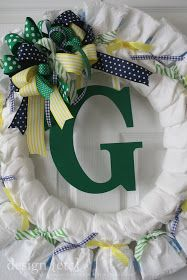 I have had quite a few friends ask me how to make a diaper wreath, so I thought I would do a little how to.      First of all, I have to g... Baby Shower Diapers, Baby Shower Cakes, Baby Boy Shower, Baby Shower Gifts, Diaper Shower, Shower Party, Baby Shower Parties, Baby Showers, Diaper Wreath