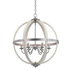 Progress Lighting Keowee Galvanized Orb Chandelier with Antique White Wood Accents – The Home Depot – Mi Hermoso Mundo Orb Chandelier, Wood Accents, Wood Chandelier, Iron Chandeliers, Chandelier Lighting, Kitchen Chandelier, French Country Chandelier, Vintage Bulb, White Wood