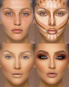 37 Tutorial for pretty makeup for beginners and students 2019 - Beauty Make-Up Best Contouring Products, Contouring And Highlighting, Best Makeup Products, Makeup Contouring Tutorial, Drag Makeup Tutorial, Highlight Contour Makeup, Best Highlighter Makeup, Liquid Makeup, Best Makeup For Contouring