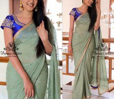 Want to shop plain sarees with embroidery blouse? Here are 17 incredible blouse ideas to try with plain drapes! Indian Sarees, Silk Sarees, Plain Saree With Heavy Blouse, Wedding Silk Saree, Silk Saree Blouse Designs, Blue Saree, Saree Look, Fancy Sarees, Indian Ethnic