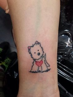 Tattoo of a KiniArt Westie. If you're interested in… Animal Lover Tattoo, Tattoos For Dog Lovers, Dog Tattoos, Animal Tattoos, Body Art Tattoos, Tattoos For Women, Tatoos, Small Tattoos, Dog Memorial Tattoos