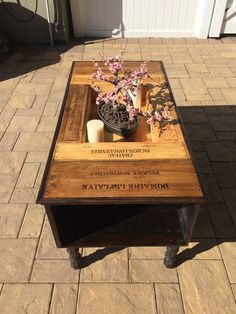 Repurposed wine box table by CBcraftydesigns on Etsy Wine Crate Coffee Table, Coffee Table With Storage, Coffee Tables, Wooden Wine Holder, Table Cafe, Wine Night, Wooden Boxes, Diy Furniture, Repurposed