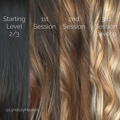 Brunette Balayage & Hair Highlights : From black to blonde with balayage sessions and Olaplex Balayage Hair, Ombre Hair, Hair Dye, Haircolor, Black To Blonde Hair, Going Blonde From Brunette, Brown To Blonde Hair Before And After, Olaplex Before And After, Blonde Brunette