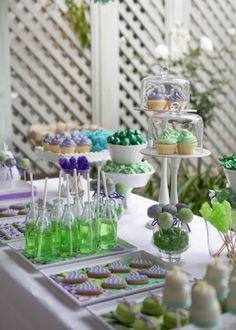 Vintage Purple Green Dessert Table