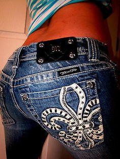Buckle MISS ME Studded Leather Fleur De Lis Thick Stitch Boot Cut Jeans 28 x 32