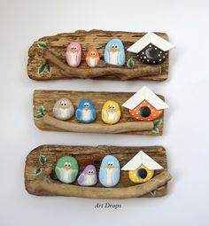 100 Gorgeous DIY Stone, Rock, and Pebble Crafts To Beautify Your Life - Usefull Information'vogelkaka' painted rocks birds on driftwood jl – ArtofitCreative Ideas for Painted Pebble and River Stone CraftsCreative Ideas - Rock is this there are many Stone Crafts, Rock Crafts, Diy And Crafts, Crafts For Kids, Arts And Crafts, Pebble Painting, Pebble Art, Stone Painting, Pebble Stone