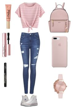 """""""Pink Canvas Look"""" by mailee-2004 on Polyvore featuring Topshop, Converse, Nine West, Olivia Burton, Too Faced Cosmetics and Kat Von D"""