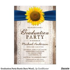 Graduation Party Rustic Barn Wood Sunflower Ribbon Card ================= ABOUT THIS DESIGN ================= Rustic Country Sunflower Bar Wood Navy Ribbon Invitation Suite. (1) All text style, colors, sizes can be modified to fit your needs. (2) If you need any customization or matching items, please feel free to contact me. (In case you didn't get my response, please check the email SPAM folder) (3) You can find matching products (e.g. Invites, RSVP card, Reception Card, Thank You Card…