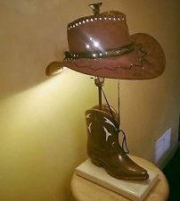 Vintage Cowboy Brown Hat Western Boot Table Lamp Handmade New Shade Cowboy Lamp Old Cowboy Boots Vintage Lamps