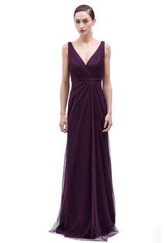 Brides: Plum Bridesmaid Dresses | Wedding Dresses Style  Style 450141, V-neck pleated tulle bridesmaid dress, $350, Monique Lhuillier
