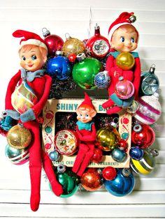 Vintage Over The Top Christmas Wreath Elf Fun by dimestorechic, $46.00