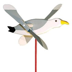 You'll feel a little bit closer to the beach the moment you install the Seagull Whirly Bird Whirligig Wind Spinner in the garden, on the front lawn or in view of the back porch. The lawn spinner is ma