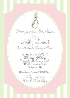 Peter Rabbit Baby Girl Shower Invitation Pink and Green - Printable Custom Invite DIY 5x7 Digital JPEG and PDF Files. $14.00, via Etsy.