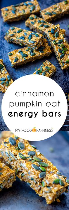 Simple and delicious Cinnamon Pumpkin Oat Energy bars! They are vegan, gluten-free and naturally sweetened so there is no processed sugar. They make the perfect healthy breakfast or snack. No Bake Energy Bites, Energy Bars, Protein Energy, Power Bars, Yummy Snacks, Healthy Snacks, Healthy Eats, Healthy Recipes, Pomegranate How To Eat