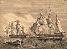 """Zeichnung der legendären Expeditionsschiffe (ungefähr 1844) HMS """"Erebus"""" und..."""