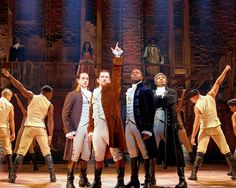 Alexander Hamilton (Miguel Cervantes), second from left, prepares for revolution along with John Laurens (Jose Ramos), left, Aaron Burr (Joshua Henry), second from right, and Hercules Mulligan (Wallace Smith) in the Chicago production of