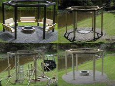 DIY Campfire Swing Tutorial. This would make an awesome center-point for a patio