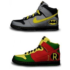 Holy Customized Sneakers, Batman! ❤ liked on Polyvore featuring shoes, sneakers and batman