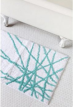 Light Teal Abstract-Line Bath Mat Turquoise Bathroom Accessories, Apartment Essentials, Abstract Lines, Light Teal, Bath Mat, Bathroom Mat, Line Design, Humble Abode, Playroom