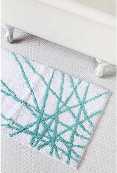 Light Teal Abstract-Line Bath Mat