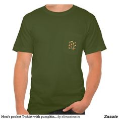 Men's pocket T-shirt with pumpkins and leaves