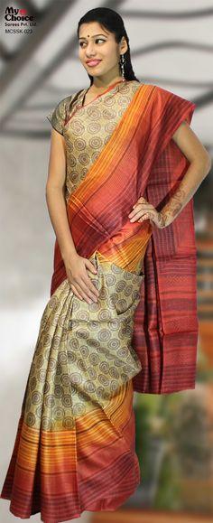 My Choice Sarees Silk Sarees MCSSK-023 SilkOrange CreamFormalAssam Silk printed saree