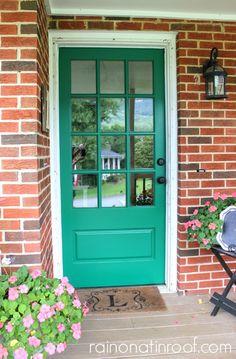 68 Best Ideas For Bold Front Door Colors Emerald Green Teal Front Doors, Modern Front Door, House Front Door, Front Door Colors, Glass Front Door, Up House, House Party, Teal House, Glass Doors