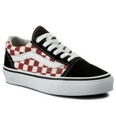 Teniși VANS - Old Skool VN0A38HB35U (Checkerboard) Black/Red Vans Old Skool, Shoe Closet, Education, Sneakers, Red, Shoes, Black, Fashion, Tennis