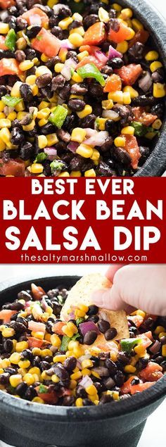 Black Bean Salsa: Easy to make black bean salsa dip with corn! This healthy black bean Mexican salsa recipe tastes super fresh and is great served with grilled chicken or tacos! (is corn healthy) Healthy Snacks, Healthy Eating, Healthy Recipes, Healthy Black Bean Recipes, Healthy Dinners, Vegetarian Recipes, Black Bean Corn Salsa, Corn Salsa Dip, Salsa Dips