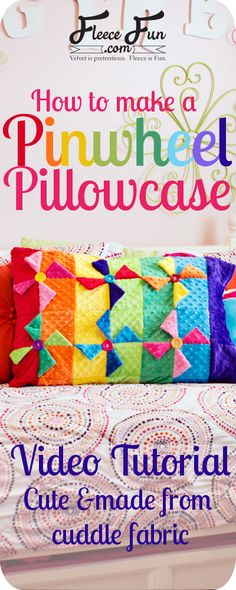 Pinwheel Quilt Block Pillowcase tutorial : This cute pillow case is based on an. : Pinwheel Quilt Block Pillowcase tutorial : This cute pillow case is based on an easy to make quilt block! I love that there is a video tutorial for it! Quilting Tutorials, Quilting Projects, Sewing Tutorials, Sewing Ideas, Sewing Tips, Easy Sewing Projects, Sewing Crafts, Fleece Projects, Fabric Crafts