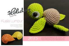 Amigurumi animal - Sea Turtle Material:- Worsted-weight yarn, Light Green & Light Brown color F/5 3.75mm crochet hook Poly-Fil...