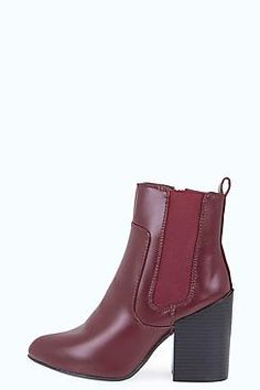 Mia Block Heel Pointed High Ankle boot