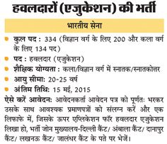 Indian Army 334 Education Hawldar Post, 200 Post Science Field, 314 Post Art field Post Apply Form - Karani Naukri