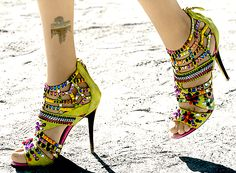 Neon yellow heels with colorful rhinestones